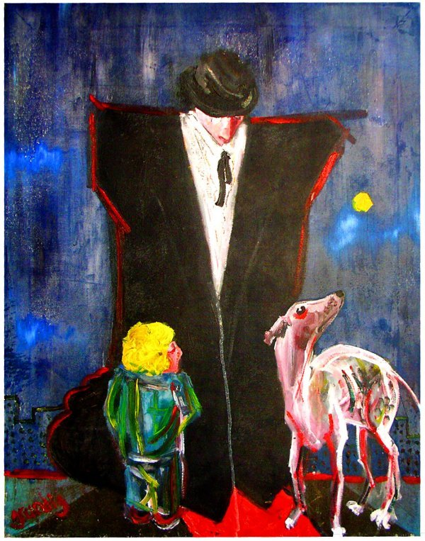 15: Modernist painting boy with dog by Hans Grundig