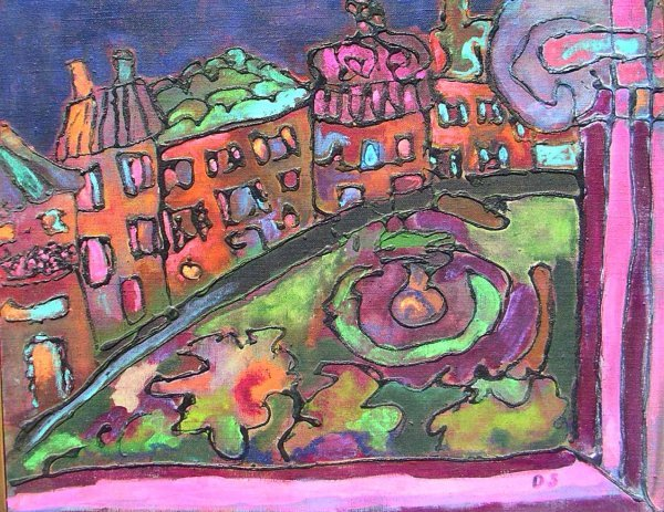 11: Painting: abstract o/c of Boston by Dasa Sage