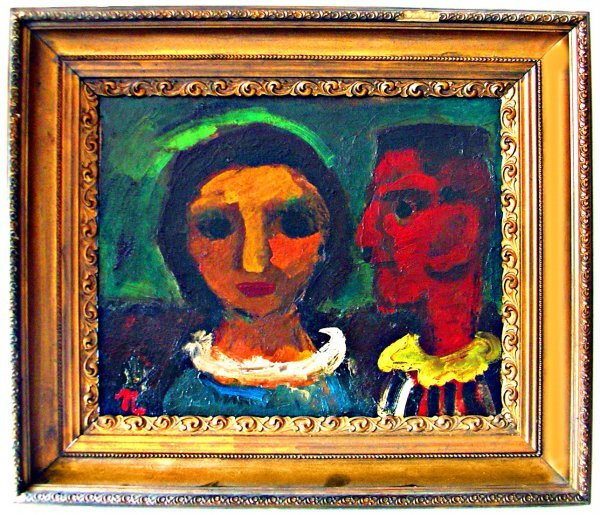 """22: Painting: Modernist o/c of 2 faces signed """"N"""""""