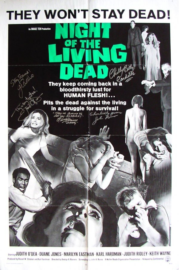 96: Movie Poster: Night of Living Dead, signed