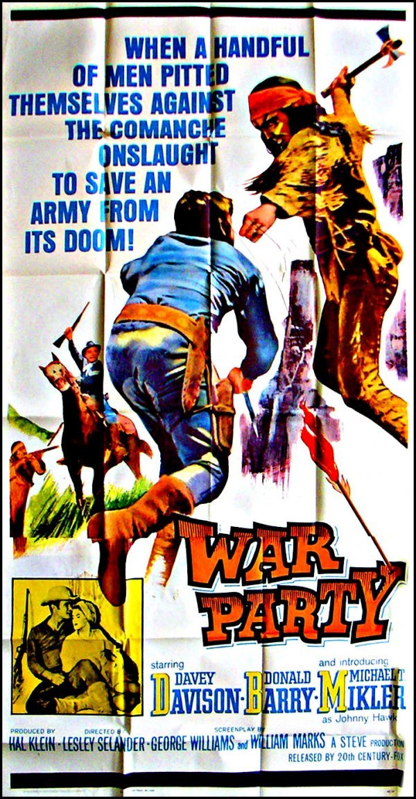 1037: Movie Poster: War Party, 3-sheet, 1965
