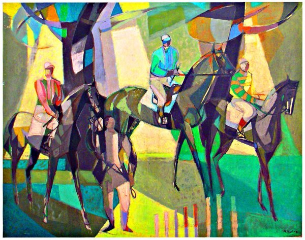 1048: o/c Horse racing ptg by Camille Hiliare