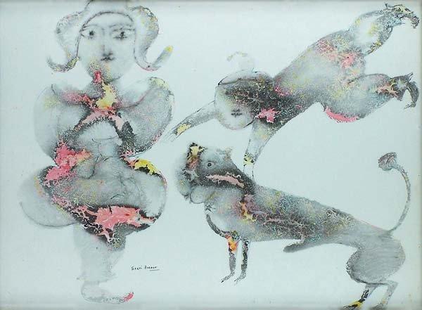 1090: Abstract watercolor by Sakti Burman