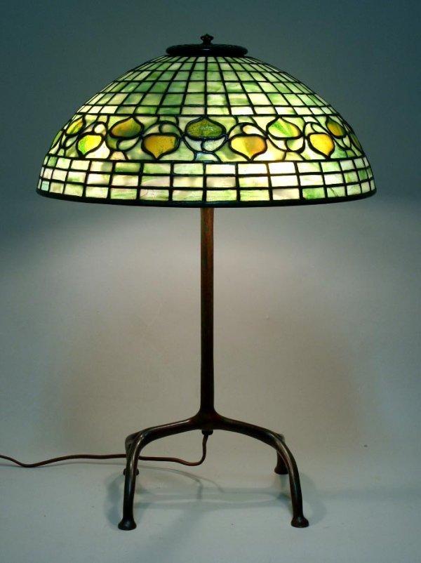 """2115: Antique Tiffany 16"""" Acorn Lamp"""