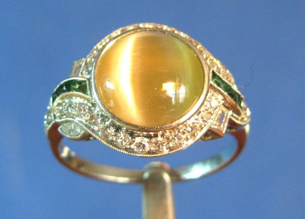 24: A Lady's Platinum 4-ct. Cat's Eye Ring