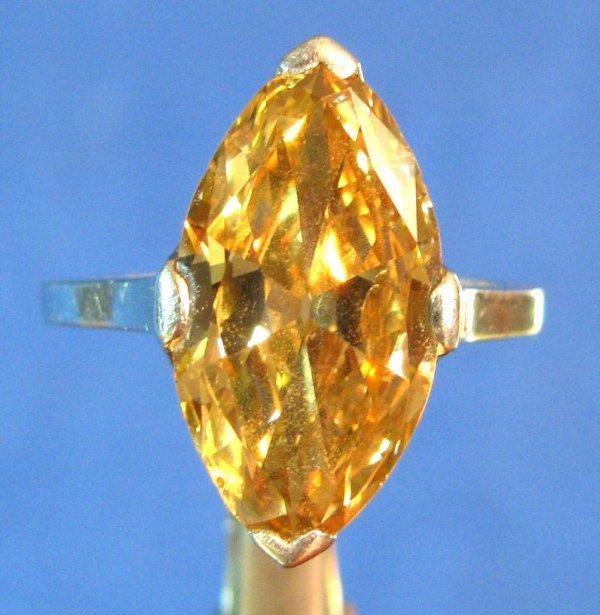 26: A Lady's Platinum & 5-ct Cognac Diamond Ring