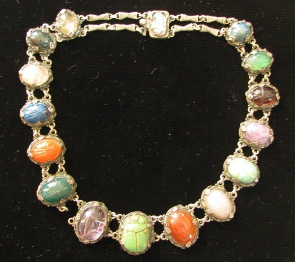 43: A Lady's Silver & Stone Scarab Necklace