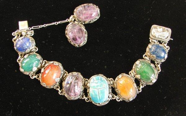 44: A Lady's Silver & Stone Scarab Bracelet