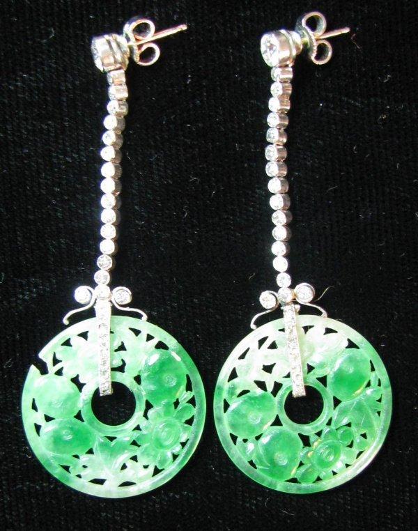 48: Art Deco Diamond & Jade Earrings