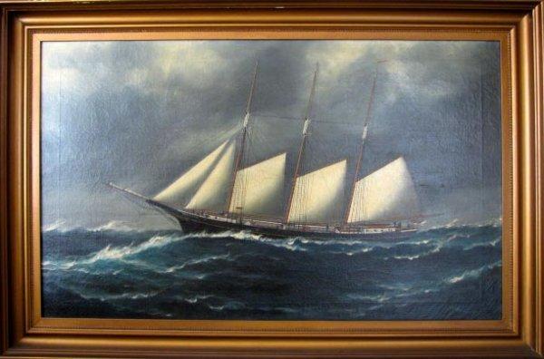 51: Samuel FM Badger oil painting of a ship, ca 1900