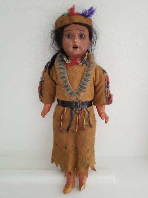 Bisque Head Indian Doll, Orig Clothes