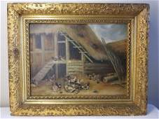 Antique Painting farm yard scene with Chickens