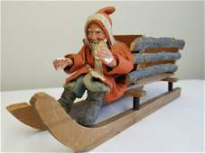 Large Father Christmas in Log Sleigh