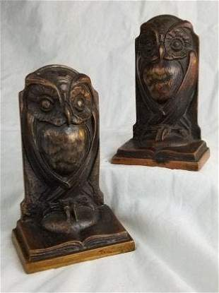 Bronze Owl Bookends