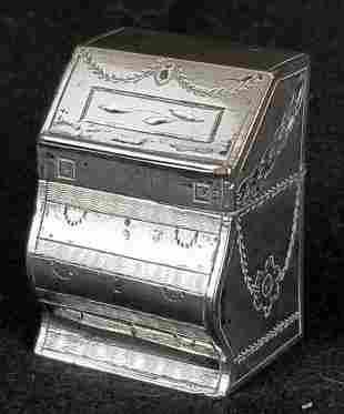 Miniature Sterling Silver Desk Shaped Box
