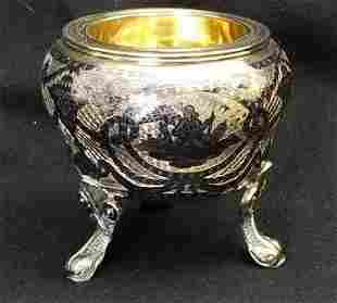 Large Sterling & Niello Salt Cellar ~ Moscow 1793