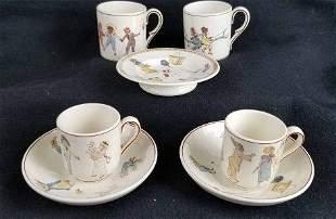 Sarreguemines Cups & Saucers ~ Kate Greenaway ~