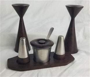 1950s Danish Rosewood Candle Holders & Condiment Set