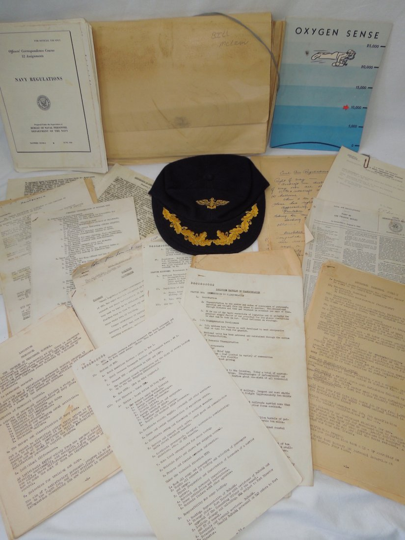 Vietnam Era US Navy Aviator Captain Hat and Paper Group