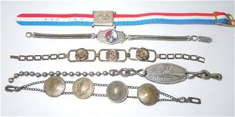 Lot of 5 WWII Military Sweetheart Bracelets
