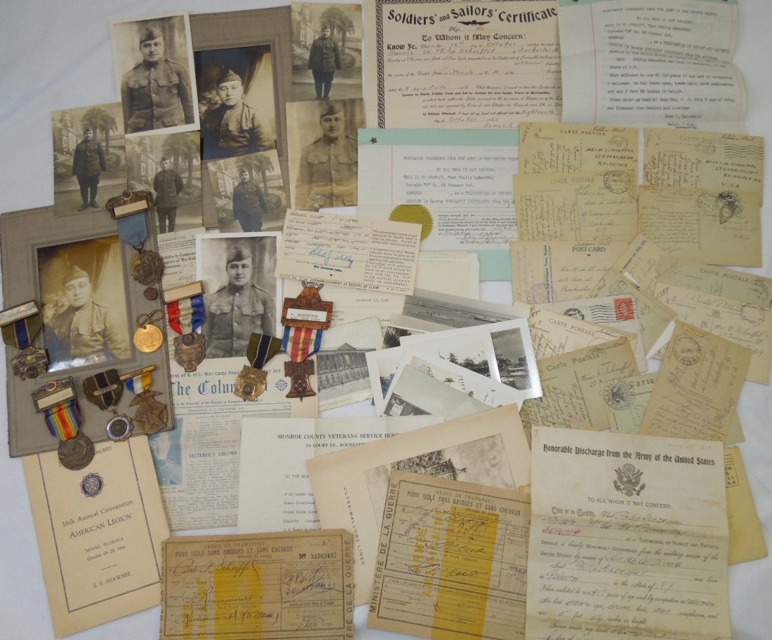 WWI Army 59th Pioneer Infantry Medal Photo Document Lot