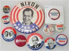 Presidential Political Buttons FDR Ike Johnson Nixon