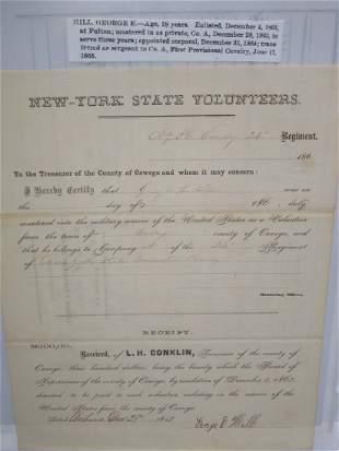 1863 New York Volunteer 24th Cavalry Certificate