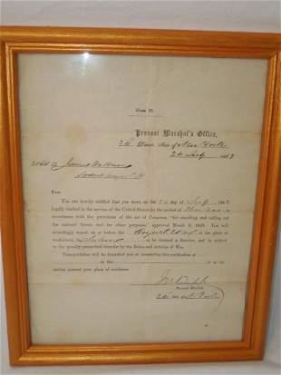 Civil War 1863 US Army Provost Marshal Draft Notice NY