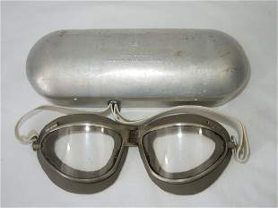 WWII USAAF Type B-7 Flying Goggles in Aluminum Case