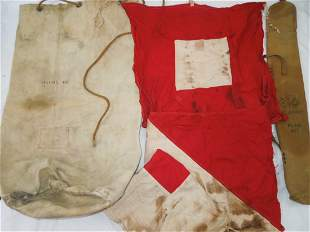 WWII US Navy Duffel Bag & Signal Corps Flags Lot