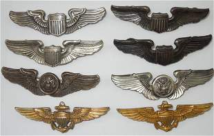 Lot of 8 WWII Sterling US AAF & Navy Wings