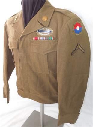 WWII US 9th Infantry Div. US Army Bullion CIB Uniform