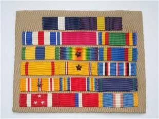 WWII US Navy Cross Admiral Custom Ribbon Bar Khaki