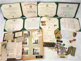 Army Sgt Summers Scrapbook Awards Dog Tags Medals Group