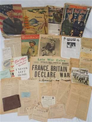 WWI - WWII Paper Ephemera Ration Books Newspaper Lot
