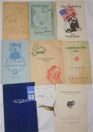 1920s - 1970s US Military Menu & Program Lot