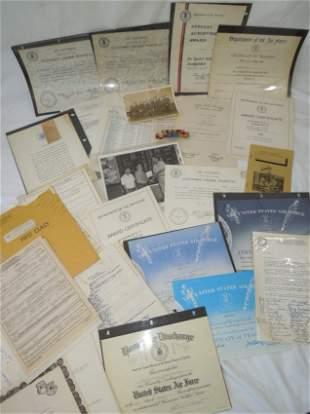 1960-80s USAF Master Sergeant Certificates Paper Ribbon