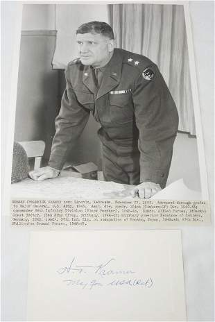 Army 66th Inf. Div. General Kramer Signed Card & Photo