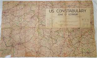 Post WWII Constabulary Zone of Germany Sector Map
