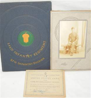 WWII Army 87th Infantry Division 346th Reg Book Photo