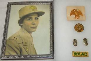 WWII WAC Womens Army Corps Photo Insignia Badges Lot