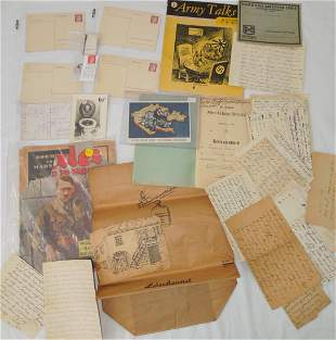 WWII German Military Ephemera Hitler Lot Letters Stamps