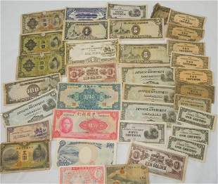 WWII Chinese & Japanese Paper Money Currency Lot Japan