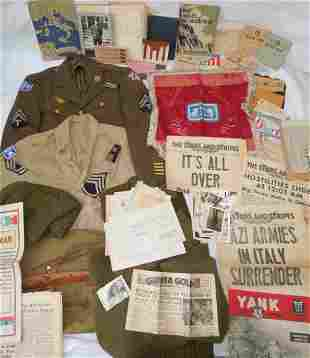 WWII Italy II Corps Uniform Photo Paper Named Archive
