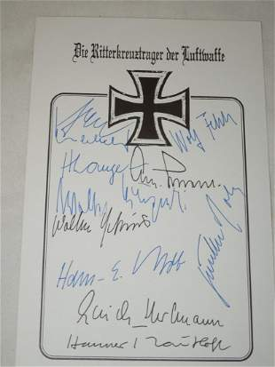 WWII German Army Knights Cross Officer Signatures Lot