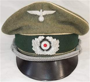 WWII German Army Heer Infantry Officer Visor Cap