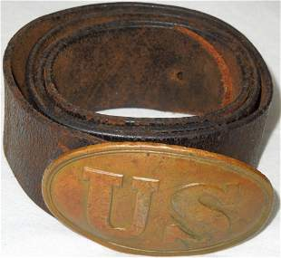 Civil War Union Army Leather Belt & Buckle