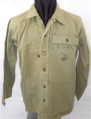 WWII P44 Named USMC Fatigue Uniform Shirt EGA Marine