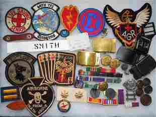 Large Lot US Military Patches Ribbons Pins Belt Buckles