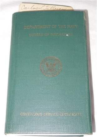 WWII USS Bennington Colorado Navy Officer CSC Book